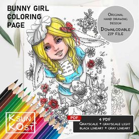 Coloring PDF page with bunny girl