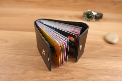 Business card holders Genuine Leather Holder Wallet Pocket Card Handmade Minimalist #11